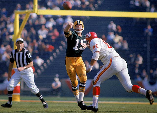 Super Bowl I, Jan. 15, 1967 Green Bay Packers quarterback Bart Starr lofts a pass in the first meeting of AFL and NFL champions, played Jan. 15, 1967. Starr's 250 yards passing and two touchdowns earned him Super Bowl MVP.