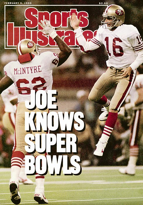 Joe Montana leaps into the air to high-five guard Guy McIntyre as the San Francisco 49ers polish off their second straight Super Bowl victory. The 49ers quarterback was named Super Bowl MVP after completing 22 of 29 passes for 297 yards and five touchdowns. San Francisco cruised to the win, defeating the Denver Broncos 55-10.