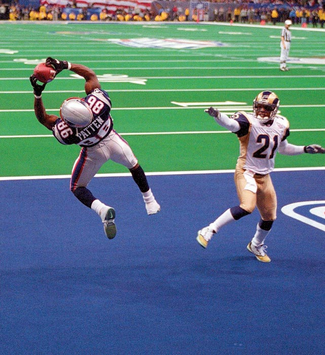 New England Patriots wide receiver David Patten makes an acrobatic catch for a touchdown in the second quarter. The catch gave the Patriots a 14-3 lead at halftime; they won 20-17.