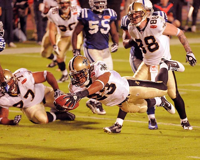 New Orleans Saints running back Pierre Thomas dives into the end zone in the third quarter. Thomas gained 85 total yards against the Indianapolis Colts, including 55 receiving yards on six catches in the 31-17 Saints' win.