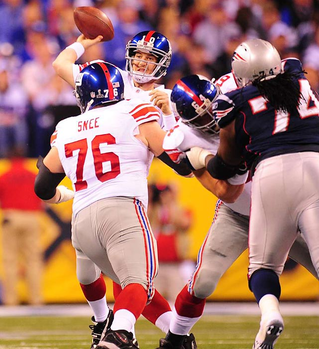 New York Giants quarterback Eli Manning steps into a throw against the Patriots. Manning was named Super Bowl MVP after completing 30 of 40 passes for 296 yards and a touchdown in the 21-17 victory.