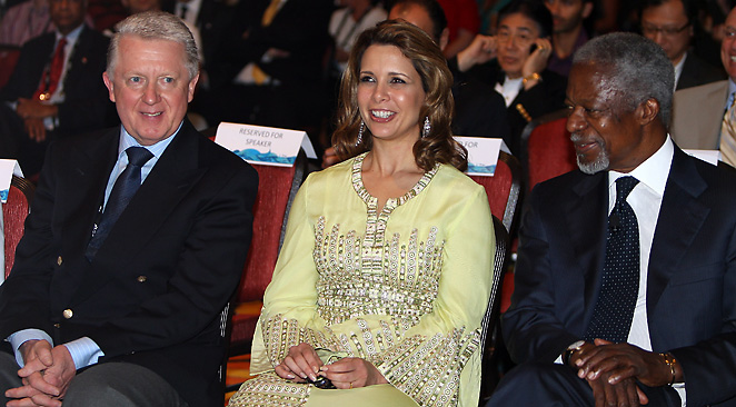 Hein Verbuggen (left), pictured with Kofi Annan and Princess Haya Bint Al Hussein of Dubai, is engaged in a significant dispute with the World Anti-Doping Agency.