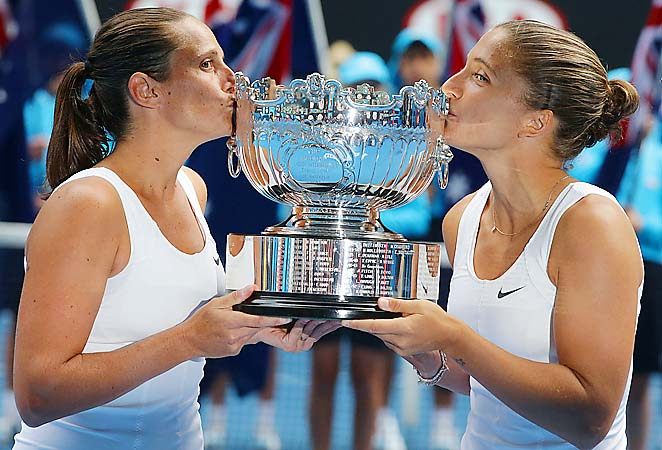 Roberta Vinci (left) and Sara Errani took out the Williams sisters on their way to the title.