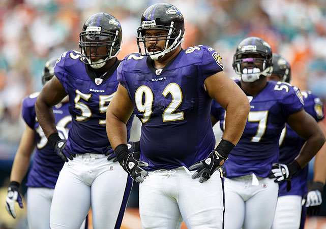 Drafted in 2006, the defensive tackle has been a cornerstone of the Ravens' D ever since. He was a member of the Baltimore defense that did not allow a 100-yard rusher for 39 consecutive games from 2006 to 2009. Since Ngata joined the team, the Ravens have allowed a league-low 31 rushing touchdowns.