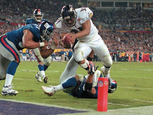 A dominant rookie, Lewis came into the league and rushed for over 1,300 yards his first season. He's the Raven's all-time leading rusher with 7,801 yards and 58 touchdowns, including 103 yards and a TD in Super Bowl XXXV, making him just the second rookie to rush for more than 100 yards in a Super Bowl and the youngest to score a touchdown in the big game.