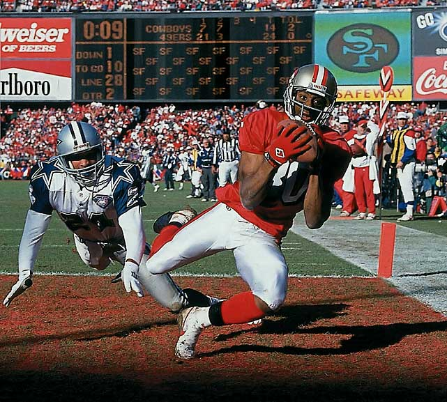 Widely regarded as the best wide receiver in NFL history, Rice was drafted by the 49ers in 1985 and went on to spend 16 years in San Francisco. After a solid rookie season, 1986 marked his first of 11 straight seasons with over 1,000 yards. He holds several receiving records including 1,549 receptions, 22,895 yards and his 20 seasons played are more than any other NFL wide receiver in history.