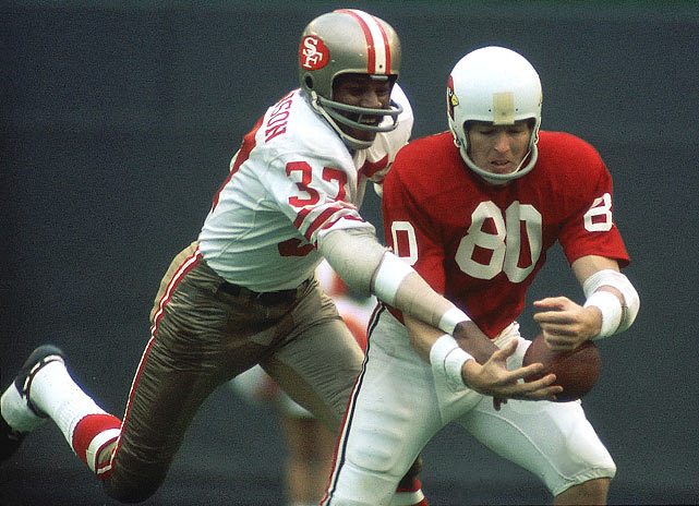 Jimmy Johnson was best known as a feared man-to-man defender, and QBs rarely threw into his defensive territory. That didn't stop him from intercepting 49 passes for 615 yards in his 16-season career. The brother of world decathlon champion Rafer Johnson, Jimmy even played as an offensive receiver in 1962, racking up 627 yards from 34 receptions for four touchdowns.