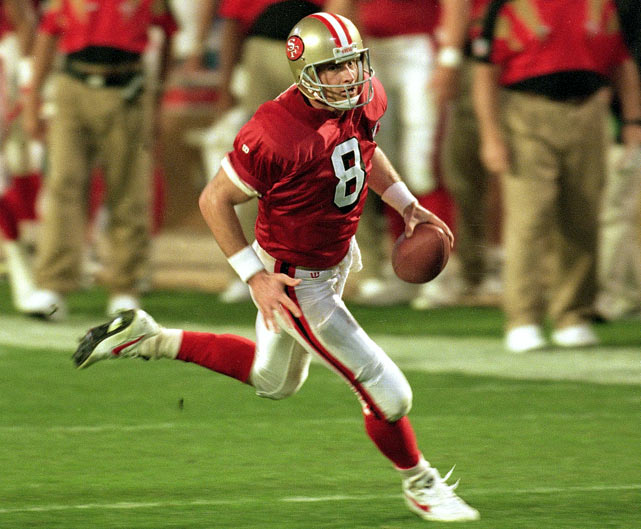 The heir to Joe Montana got off to an bad start, entering the league by the hand of Tampa Bay through the supplemental draft in 1984. The Bucs traded him to San Francisco in '87, where he trained as the backup QB. He took his chance at the starting spot in '91, passing for 2,517 yards and 17 touchdowns and winning the first of four consecutive passing titles. He'd add two more in '96 and '97 to tie Sammy Baugh as the only quarterbacks with six NFL passing titles.