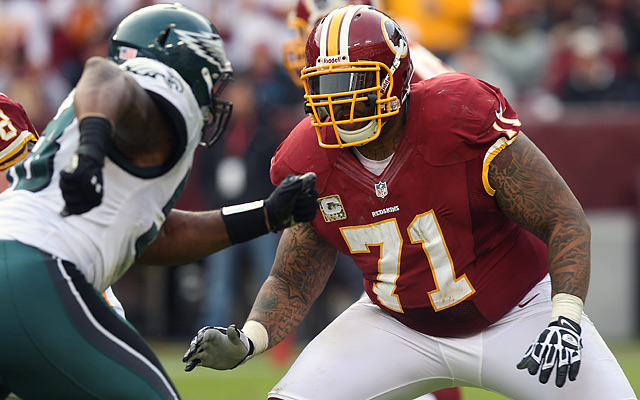 Trent Williams (No. 71) was elected a team captain on offense for the Redskins this season.