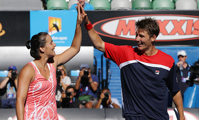 Jarmila Gajdosova (left) and Matthew Ebden claimed a 6-3, 7-5 win over Lucie Hradecka and Frantisek Cermak.