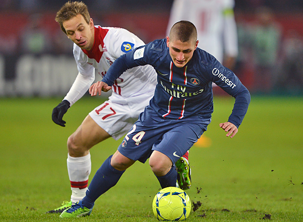 Marco Verratti (right) and Paris St. Germain used an own goal to reclaim first in the standings.