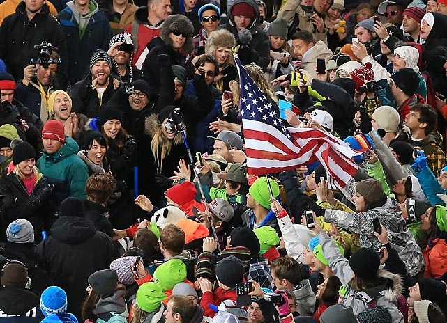 Fans cheer on White following his gold medal win.