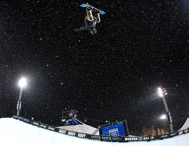 Fourteen-year-old Ayumu Hirano of Japan does a backside air in a practice run for the SuperPipe competition at the Winter X Games. The youngest competitor at the X Games, Hirano placed second in the SuperPipe with a score of 92.33 on his second run.