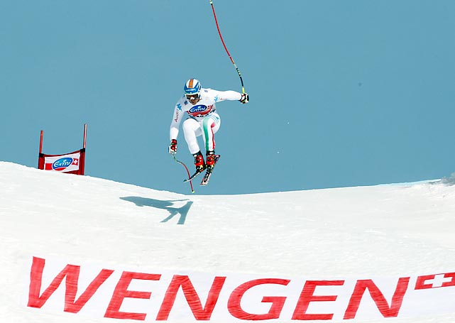 Peter Fill flies down the mountain in the downhill competition in an FIS Ski World Cup event in Wengen, Switzerland. The Italian finished 18th, 2.18 seconds behind countryman Christof Innerhofer.
