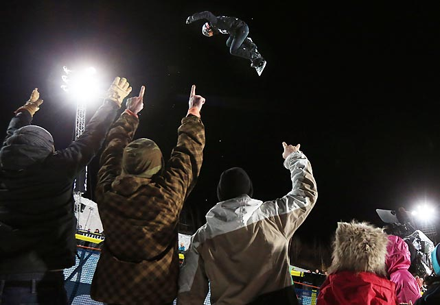 Shaun White soars above spectators in the snowboard SuperPipe final at the Winter X Games in Aspen, Colo. White won gold in the event for a record sixth straight year, giving him 15 all-time gold medals at the X Games.