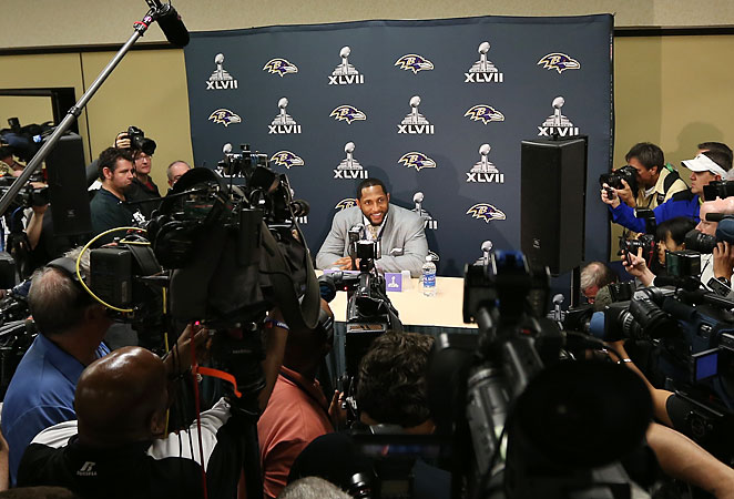 The occasion of Ray Lewis' last game in the NFL is sure to draw a large crowd of reporters Tuesday.