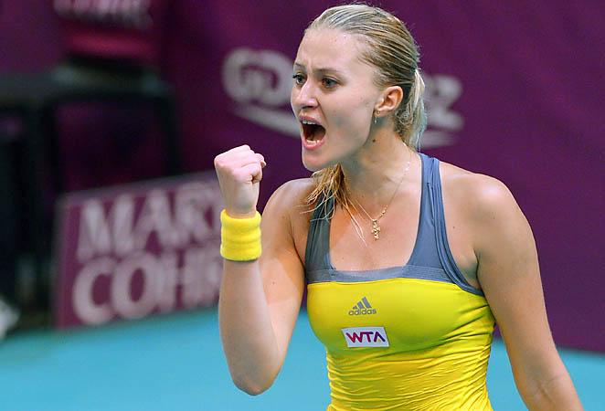 Kristina Mladenovic will face either Yanina Wickmayer or Anastasia Pavlyuchenkova next.