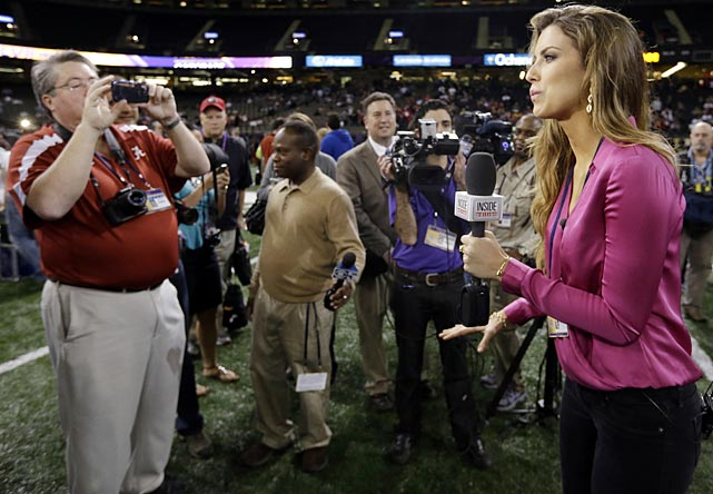 Fresh off her coming-out moment at the NCAA Championship game, Katherine Webb worked Media Day for <italics>Inside Edition.</italics>