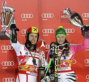 Marcel Hirscher won his fifth World Cup race this season, while Lena Duerr secured her first victory.