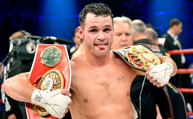 Daniel Geale celebrates after winning a unification title fight against Felix Sturm in Sept. 2012.