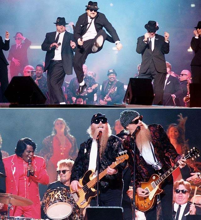 Sadly, Jim Belushi is no John Belushi, a point made clear in this halftime show when Jim Belushi performed with Dan Akroyd and John Goodman as part of the new Blues Brothers. For every second that they were on stage, that meant one less for James Brown and ZZ Top.