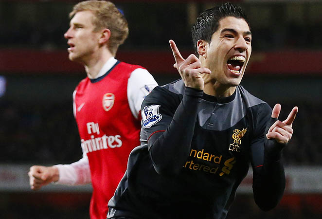 Luis Suarez scored in the fifth minute and nearly added a stoppage-time winner.