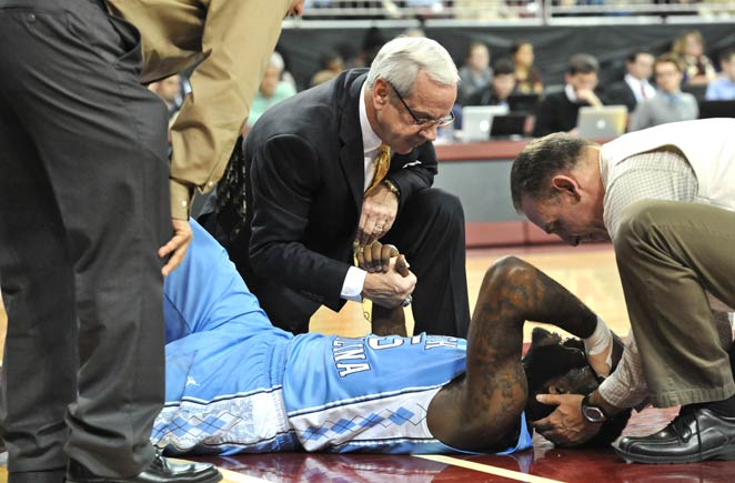 P.J. Hairston was taken off in a strecher after suffering a concussion at Boston College.