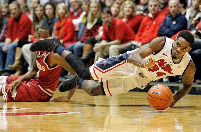 Aaron Jones (right) was averaging 3.5 points and 4.1 rebounds per game for Ole Miss.