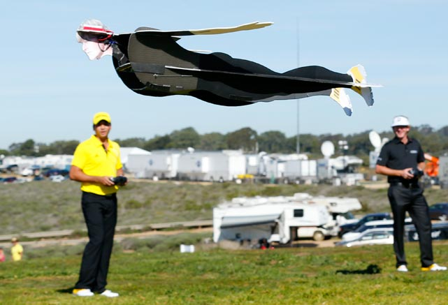 Along with a new line of puddle-jumpers, Adidas Golf has introduced a lightweight, remote control drone. Cleverly designed to replicate actual PGA duffers like Mr. Snedeker here (amazingly life-like isn't it?), the drones will play an essential role in monitoring and harassing terrorists and cheaters on links across the nation by launching precision missile strikes.