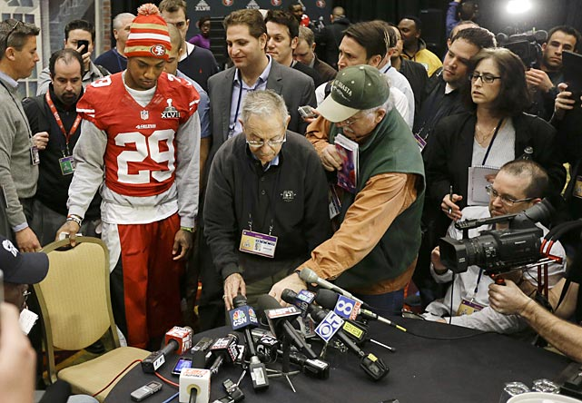 "San Francisco 49ers cornerback Chris Culliver takes a seat to answer questions regarding anti-gay remarks he made during media day. Culliver apologized for the comments he made to a comedian during an interview, saying ""that's not what I feel in my heart."""