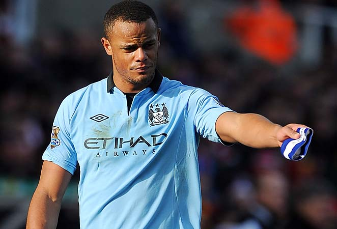 Vincent Kompany will be out for Sunday's big clash between Manchester City and Liverpool.