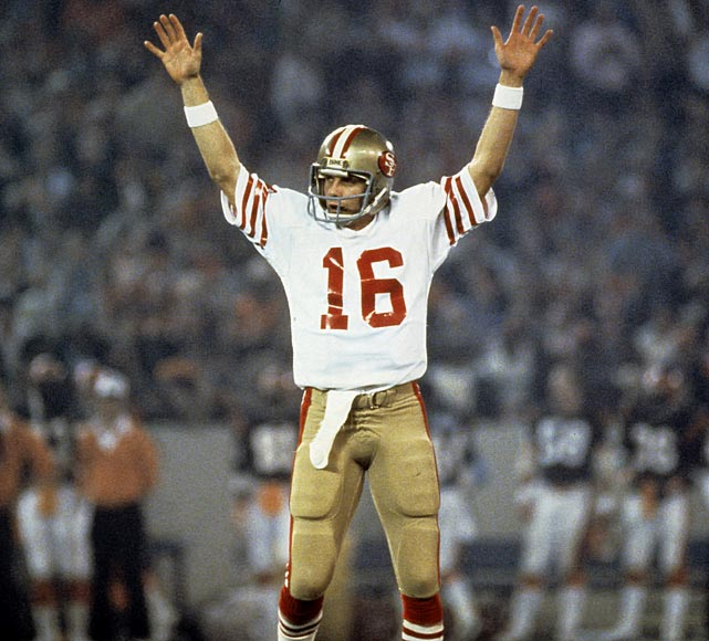 Montana kicked off the Niners' Super Bowl era with 157 yards and a touchdown against Cincinnati. His one scoring pass capped off a Super Bowl record 92 yard drive.