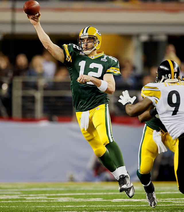 Rodgers helped banish the ghost of Brett Favre by leading the Packers back to Super Bowl glory, going 24 for 39 with 304 yards and three touchdowns in the process.