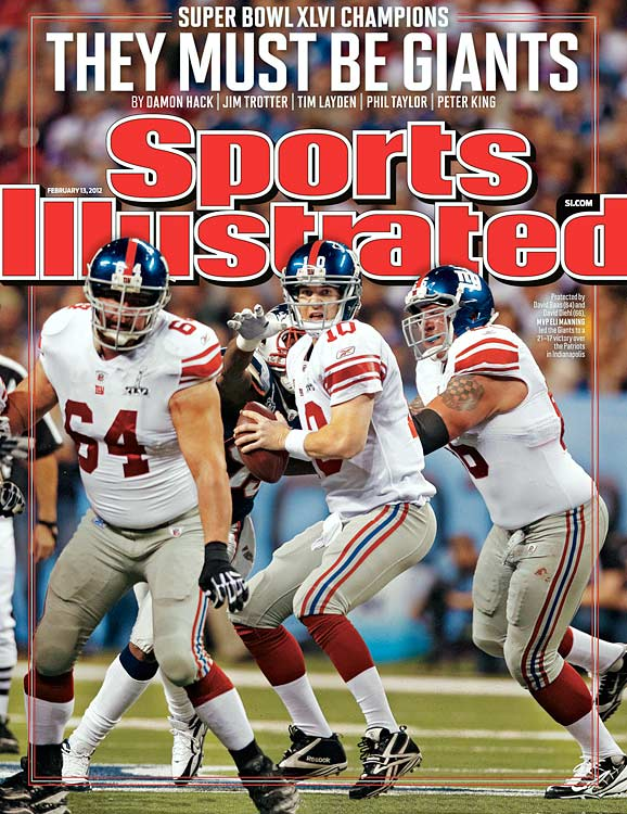Eli did Peyton one better by securing his second world championship and MVP award on the back of 296 passing yards, 30 completions for 40 tosses and one touchdown.