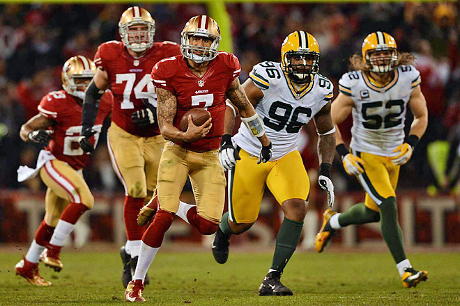 QB Colin Kaepernick rushed for a position playoff mark 181 yards in the 49ers' 45-31 win over the Pack.