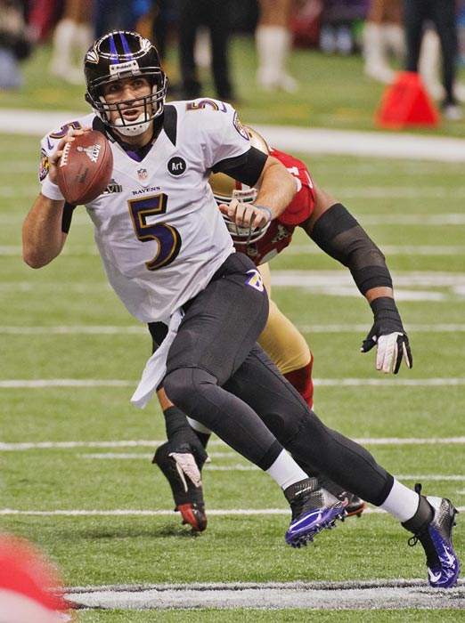 Flacco bought himself some time by scrambling on occasion.