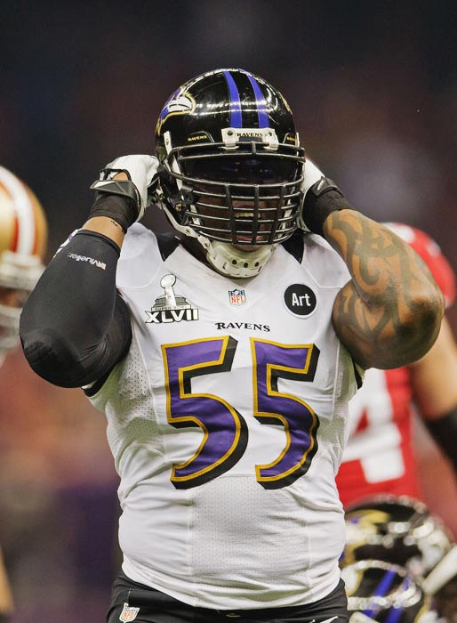 Terrell Suggs and the Ravens were amped up while holding the 49ers to a pair of field goals in the first half.