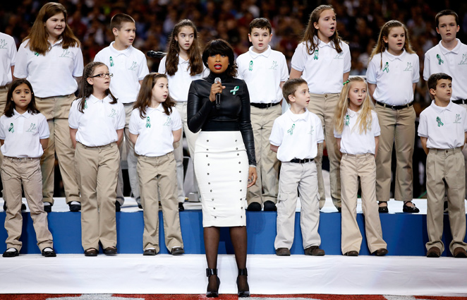 Jennifer Hudson sang with the chorus of Sandy Hook Elementary School before the Super Bowl.