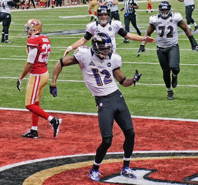Jacoby Jones dances after his 56-yard touchdown reception.