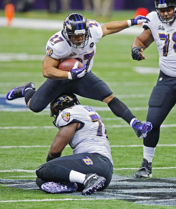 Ray Rice had 59 yards rushing on 20 carries and added 19 yards on four receptions.