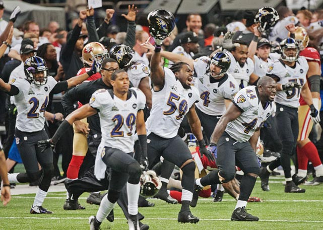 The Ravens stormed the field after San Francisco failed to score on a kick return in the final seconds.