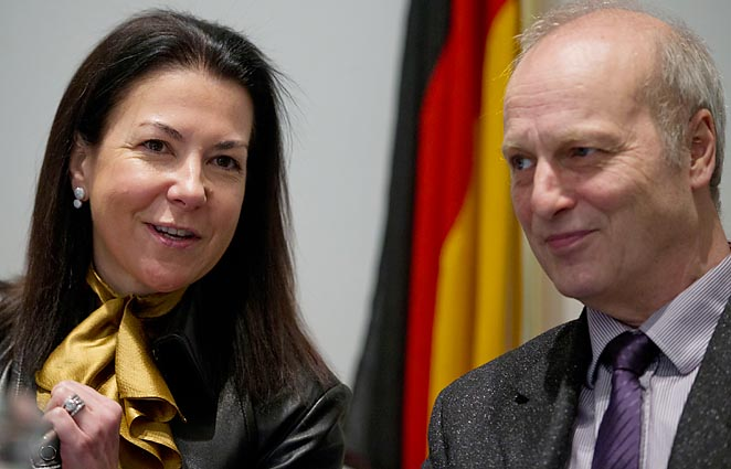Eurojust president Michele Coninsx (left) and Friedhelm Althans, chief investigator of the Bochum police in Germany, talk at the start of a press conference on findings of a probe into match fixing.