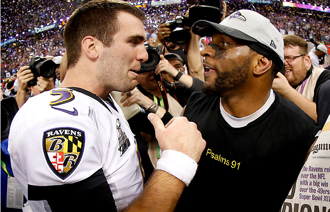 Joe Flacco tied a playoff record for most TDs (11) without a pick, while Ray Lewis rides into retirement a champion.