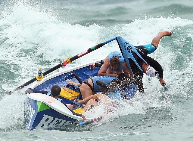 The Bungan sue life saving crew lose control of their boat at the Ocean Thunder Surf Boat Series in Sydney, Australia.