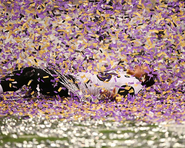 Long snapper Morgan Cox happily gets swallowed by the sea of confetti after the Baltimore Ravens' 34-31 victory over the San Francisco 49ers in Super Bowl XLVII. The win was the Ravens' first Super Bowl title since the 2000 season.