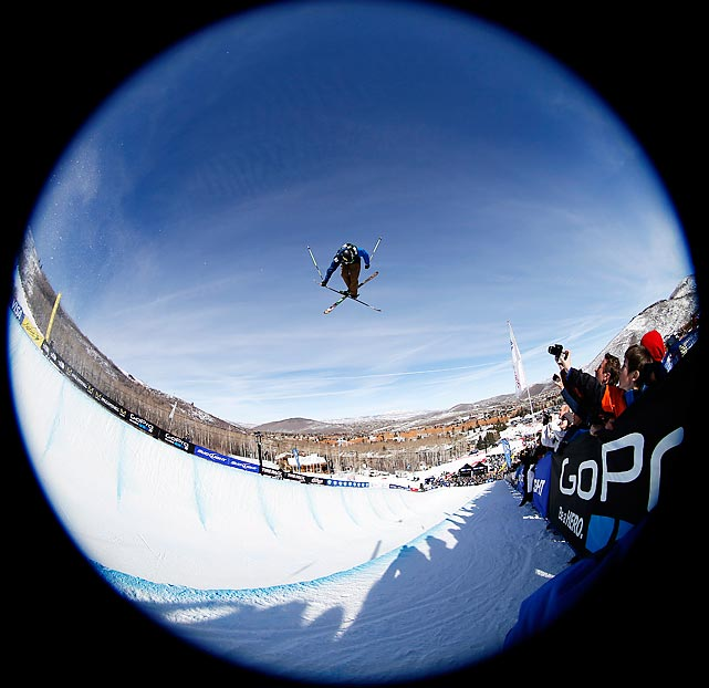 David Wise soars in the half pipe freestyle skiing competition. Wise took the top spot in the contest with a score of 93.8, backing up his gold medal in the SuperPipe at the 2013 Winter X Games.
