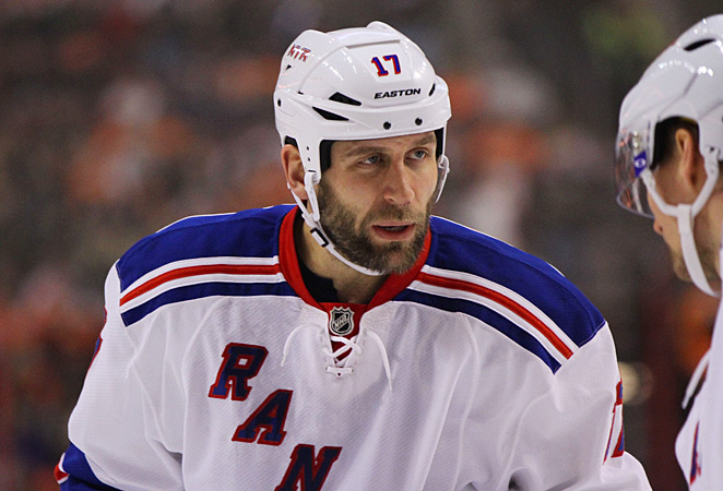 The Rangers received Darroll Powe and Nick Palmieri from the Wild in exchange for Mike Rupp (above).