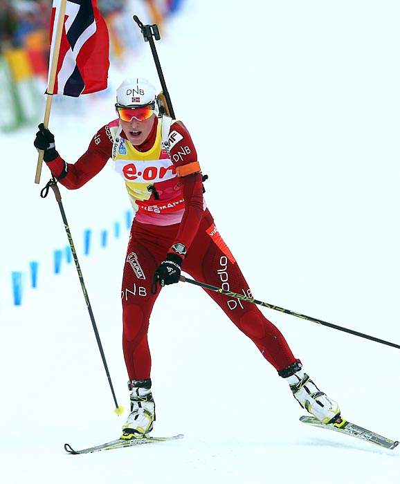 Berger claimed three gold medals at the 2012 biathlon world championships, and should compete for another Olympic gold.