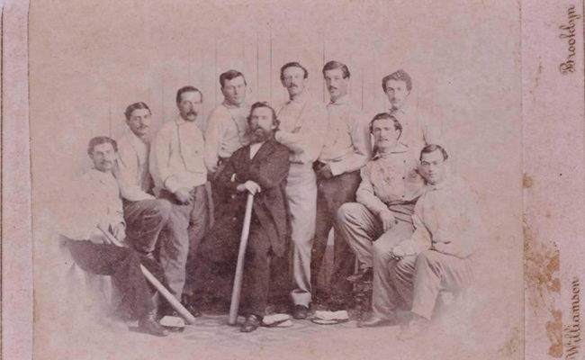 The card, which is actually a mounted photograph, depicts the Brooklyn Atlantics amateur baseball club.