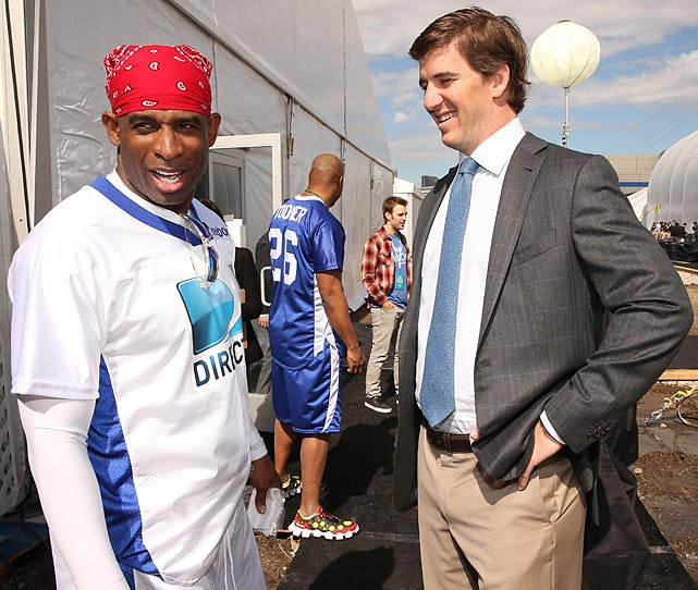 We hear the Giants' nattily-attired QB tried to interest the former two-sport superstar/TV personality/Super Bowl commercial character in a discreet game of winner-take-all Go Fish before DIRECTV'S Seventh Annual Celebrity Beach Bowl in New Orleans. The former two-sport superstar/TV personality/Super Bowl commercial character wisely declined.